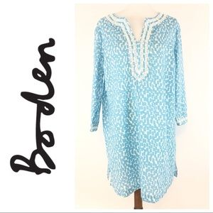 Boden Blue and White Cotton Tunic Top